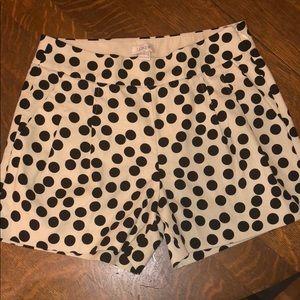 J CREW Pleated Polka Dot Shorts Sz 0